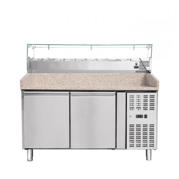 Pizzakühltisch mit Aufsatzvitrine 150 cm THPZ2600TN