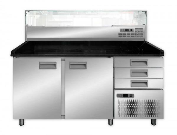 Pizzakühltisch mit Aufsatzvitrine 160 cm