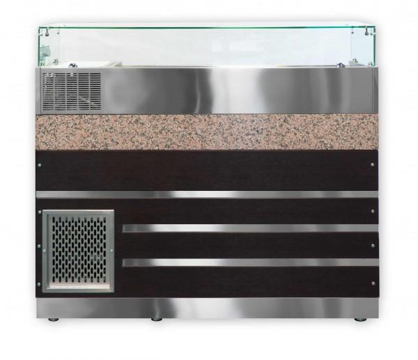 Pizzakühltisch 160 Porino Marmor mit Aufsatzvirtrine