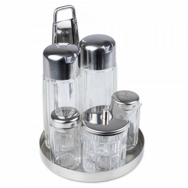 Menage Contacto Salz Pfeffer Essig Öl Senf 5-Teilig