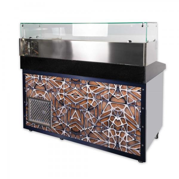 Pizzakühltisch mit Aufsatzvitrine LED Dekor 160 cm