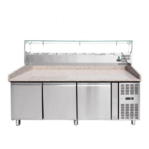 Pizzakühltisch mit Aufsatzvitrine 200 cm THPZ3600TN