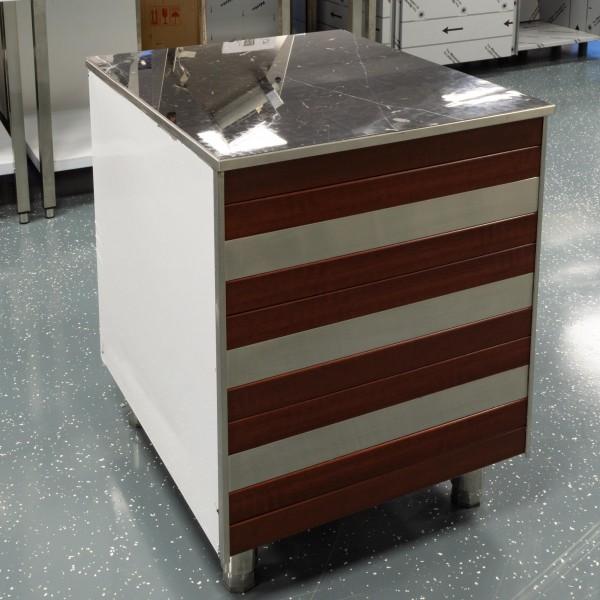 Edelstahl Kassentisch mit Holz Verkleidung Arbeitsschrank 100 cm Marmor Schwarz